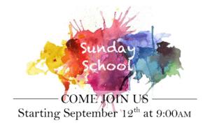Children's Sunday School Resumes Sep 12